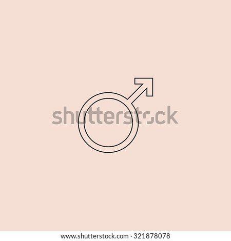 Male sex icon. Outline icon. Simple flat pictogram on pink background