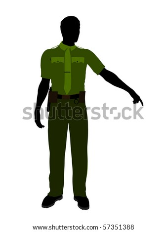 Male sheriff silhouette illustration on a white background