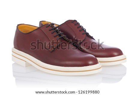 Male shoes in fashion concept on white - stock photo