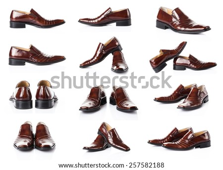 Male shoes isolated on the white.  Man footwear - stock photo