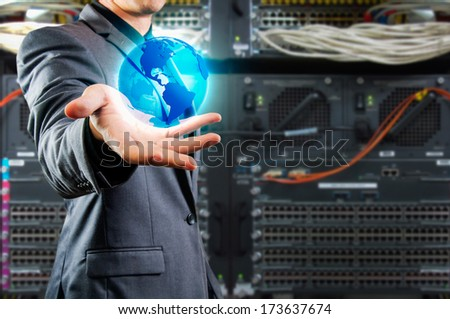male showing globe ,technology concept - stock photo
