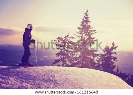 Male skier - stock photo