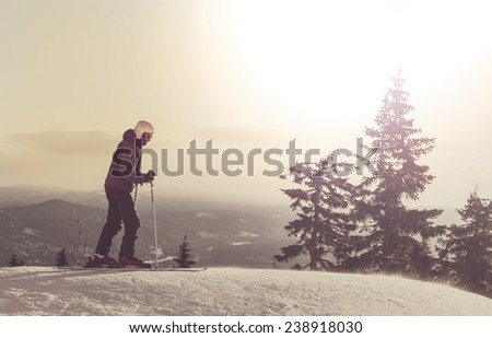 Male skier - stock photo