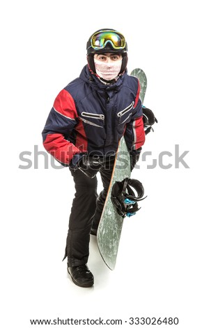 Male snowboarder with the board on a white background. - stock photo