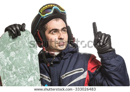 Male snowboarder with the board on a white background.