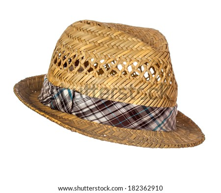 Male straw hat isolated over white background - stock photo