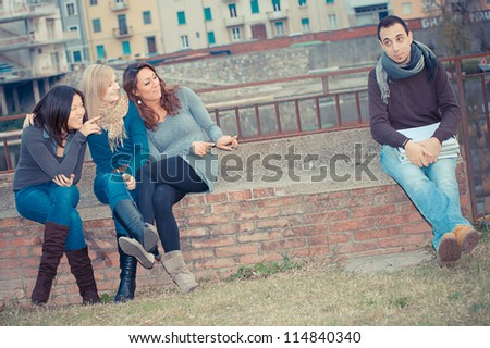 Male Student get Mobbed by the Group Italy - stock photo