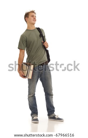 Male student with books and backpack - stock photo