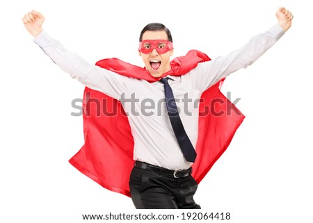 Male superhero jumping out of happiness isolated against white background