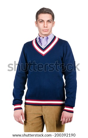 Male sweater isolated on the white - stock photo