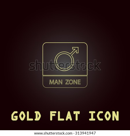 Male symbol, man. Outline gold flat pictogram on dark background with simple text. Illustration trend icon