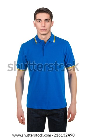 Male t-shirt isolated on the white background - stock photo