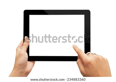 male teen hands using tablet pc with white screen, isolated