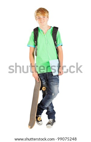male teen student isolated on white - stock photo