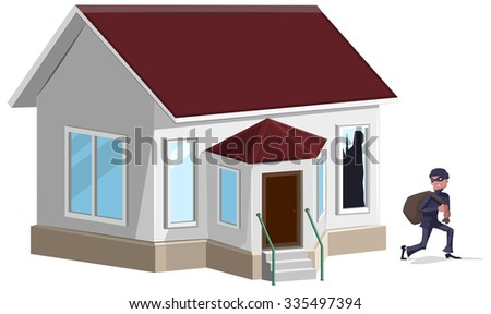 Male thief in mask robbed house. Property insurance - stock photo