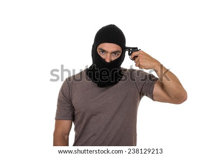 male thief wearing mask and holding gun pointing to hsi head isolated on white