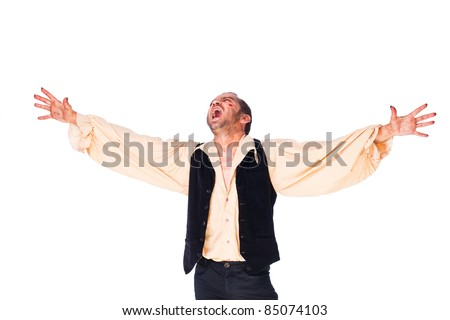 Male vampire roaring with arms raised, looking up on white background