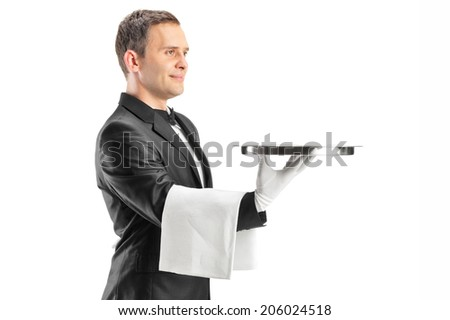 Male waiter serving and holding a tray isolated on white background
