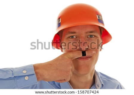 Male with blue shirt and orange party German war helmet and Hitler mustache drawn on finger