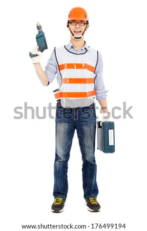 Male worker  holding  power drill and tool box  - stock photo