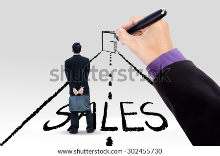 Male worker standing on a road with a hand guiding him to get a door to increase sales - stock photo