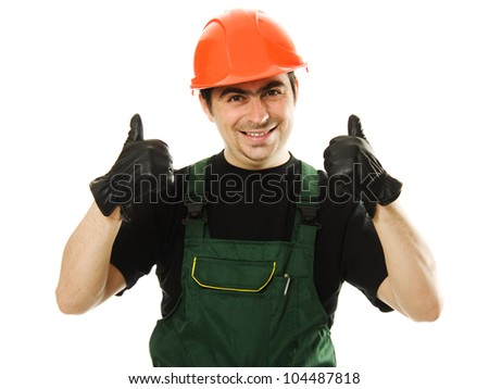 Male worker with an electric drill on a white background