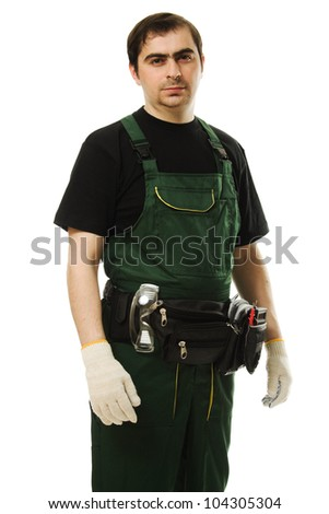 Male worker with tools on a white background. - stock photo
