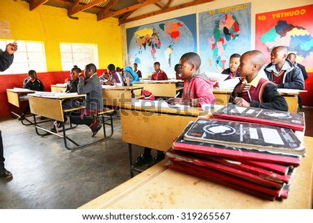Malealea, Lesotho - August, 27th, 2015: local school; students in the classroom.