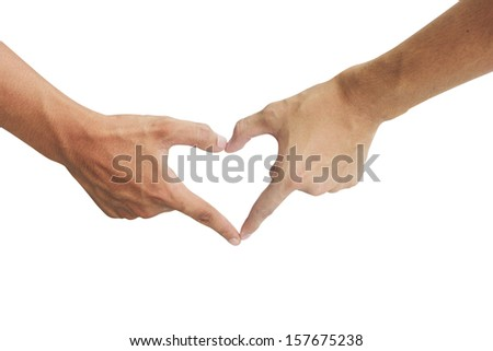 males hand showing heart shape gesture. Isolated on white background
