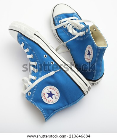 MALESICE, CZECH REPUBLIC - AUGUST 13, 2014: All Star Converse sneakers on white.