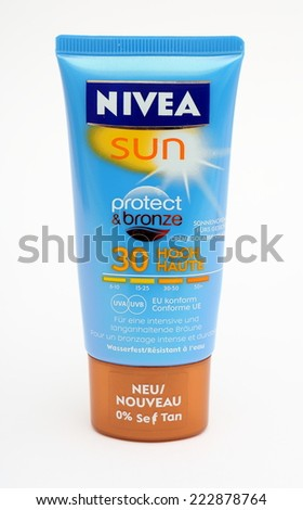 MALESICE, CZECH REPUBLIC - OCTOBER 11, 2014: Nivea sun lotion Protect Bronze SPF 30.