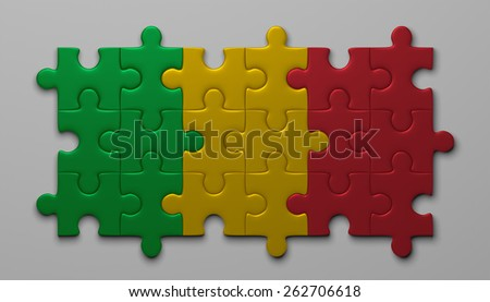 Mali flag assembled of puzzle pieces on gray background - stock photo
