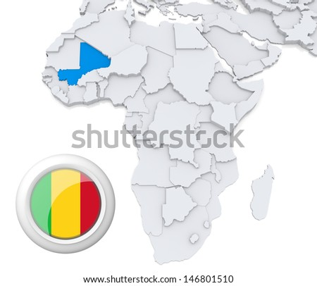 Mali with national flag - stock photo