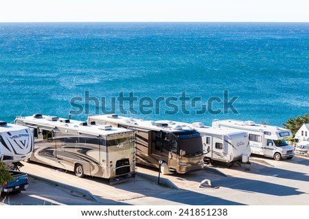 Malibu, California, USA-December 26, 2014. Winter RV camping on cost of California. - stock photo