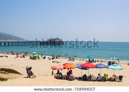 MALIBU, LOS ANGELES. 13 th August, 2017: famous beach of malibu with pier at background