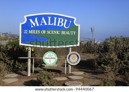 MALIBU - SEPTEMBER 1: Malibu sign along Pacific Coast Highway on September 1, 2011 in Malibu, California - stock photo