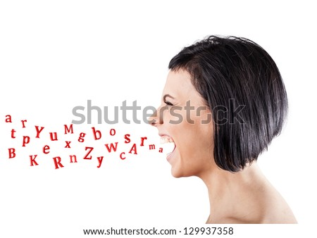 Malicious girl shouts and letters fly from a mouth - stock photo