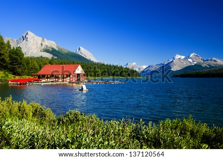 Maligne Lake and Maligne Mountain, Jasper, Canadian Rockies - stock photo