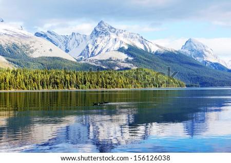 Maligne lake, Jasper national park, Canada - stock photo