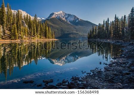 Maligne Lake wilderness - stock photo