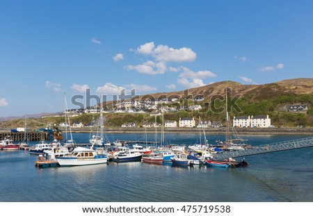 Mallaig harbour Scotland uk port on the west coast of the Scottish Highlands near Isle of Skye in summer with blue sky
