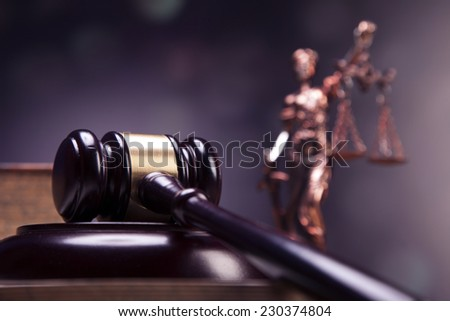 Mallet of justice! Concept of law. Studio shots
