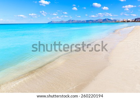 Mallorca Can Picafort beach in alcudia bay at Majorca Balearic islands of Spain - stock photo