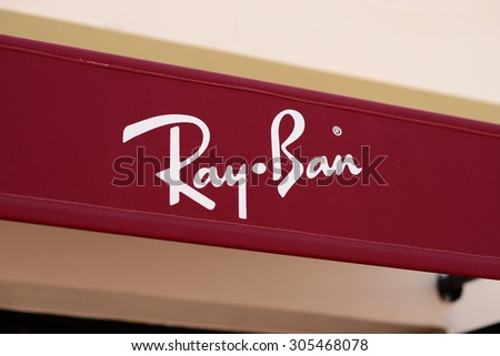 ray ban outlet kuala lumpur  mallorca july 31, 2015: the logo of the brand \ray ban