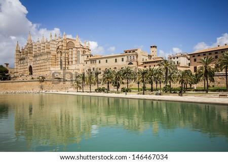 Mallorca - Palma de Mallorca view of a cathedral - stock photo
