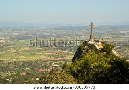 Mallorca, Spain. Landscape with cross on the hillside - Santuario de San Salvador.