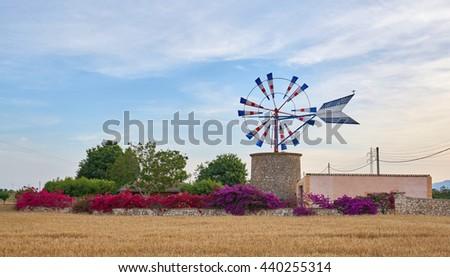 Mallorca, Windmill. Spain. Mallorca - island. Mallorca landscape.                                - stock photo