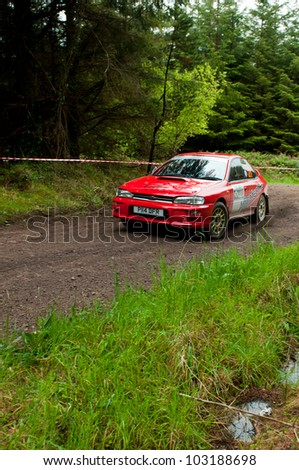 MALLOW, IRELAND - MAY 19: I. Chadwick driving Subaru Impreza at the Jim Walsh Cork Forest Rally on May 19, 2012 in Mallow, Ireland. 4th round of the Valvoline National Forest Rally Championship.