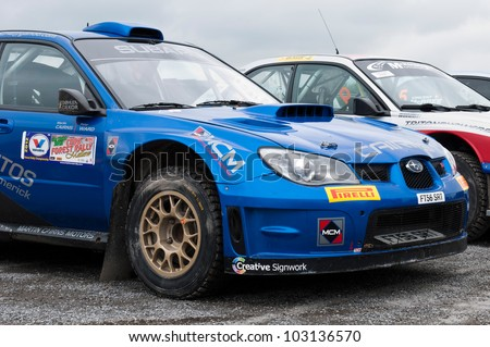 MALLOW, IRELAND - MAY 19: M. Cairns Subaru Impreza in Park Ferme at The Jim Walsh Cork Forest Rally on May 19, 2012 in Mallow, Ireland. 4th round of the Valvoline National Forest Rally Championship.