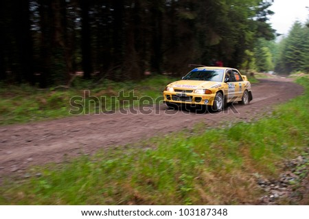 MALLOW, IRELAND - MAY 19: M. O' Connor driving Mitsubishi Evo at the Jim Walsh Cork Forest Rally on May 19, 2012 in Mallow, Ireland. 4th round of the Valvoline National Forest Rally Championship.